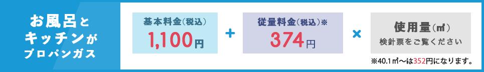 富岳物産のガス料金表(お風呂とキッチンがプロパンガスの場合)